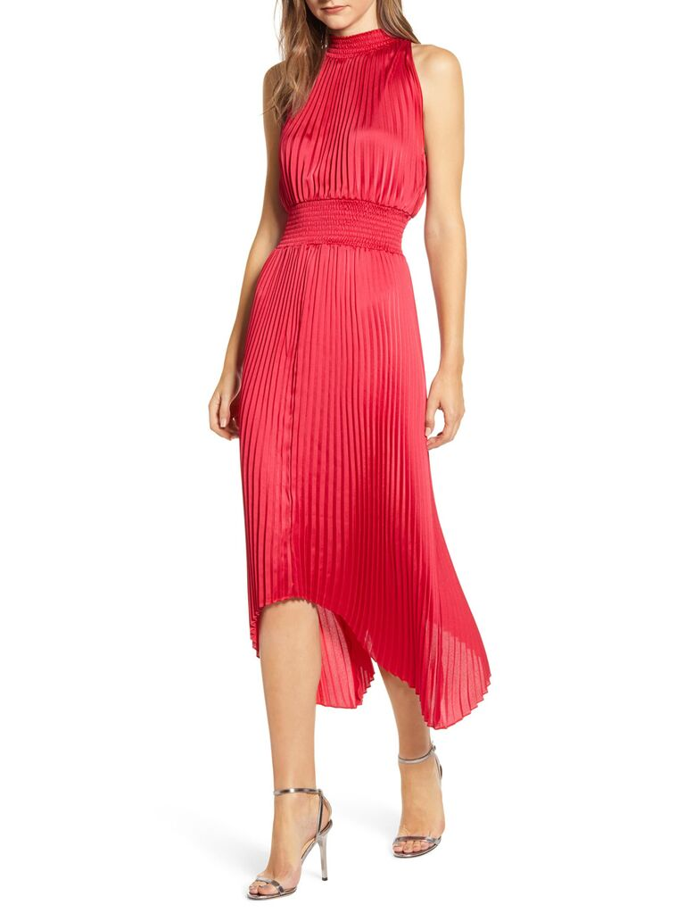 Red pleated winter wedding guest dress