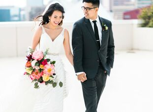 Suchada Sarintra and Kye Nam Park chose the Baltimore Museum of Art in Baltimore, Maryland, for their elegant Thai-inspired wedding. The bride stunned