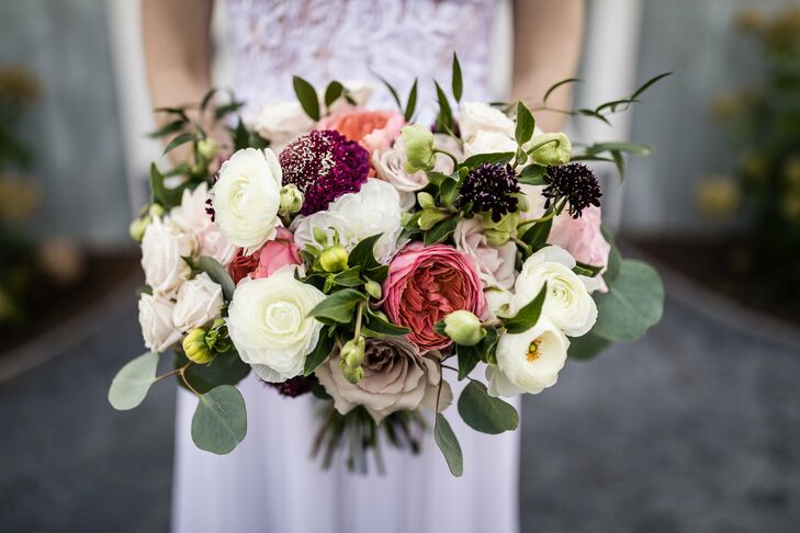 Rose, Ranunculus and Scabiosa Bouquet