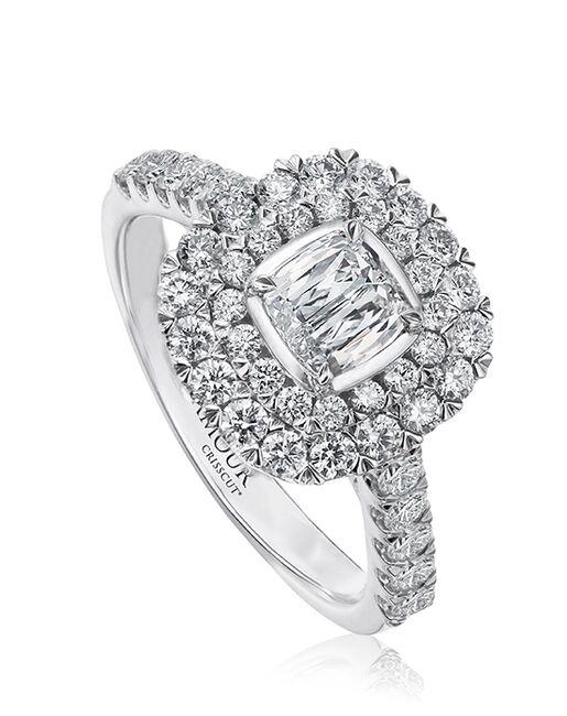 Christopher Designs Unique Cushion Cut Engagement Ring