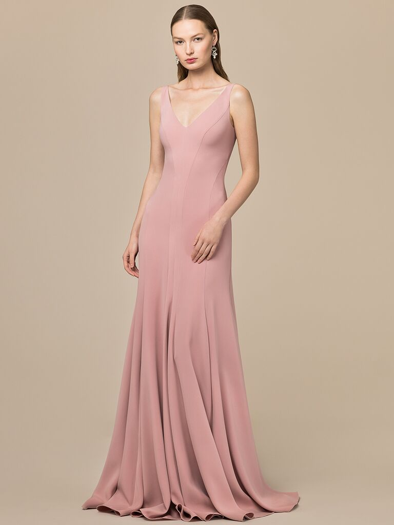 EDEM Demi Couture pink A-line dress with V-neckline