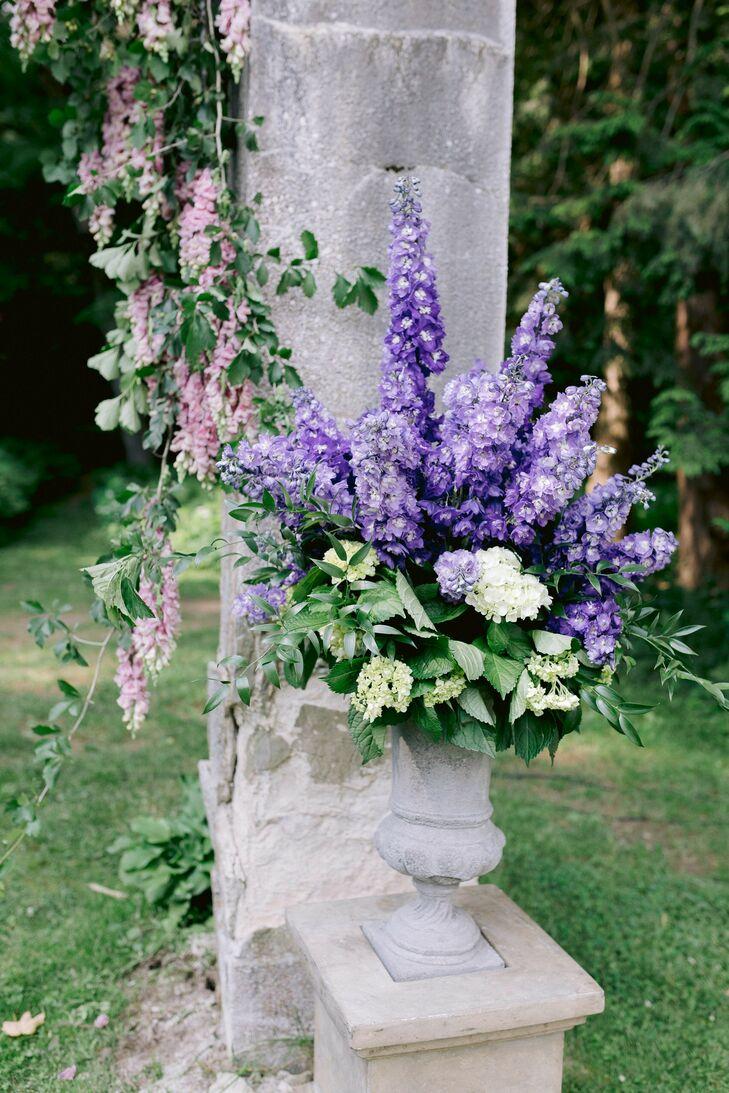 Wisteria Wedding Ceremony Floral Arrangement
