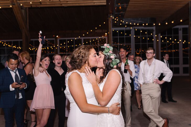 """Emma and Haleigh danced as newlyweds to """"She Lit a Fire"""" by Lord Huron, which became their official """"song"""" during their first Valentine's Day together. The DJ ended the evening's dance party with John Mayer's version of """"XO."""" """"That was one of my favorite memories of the night,"""" Emma says."""