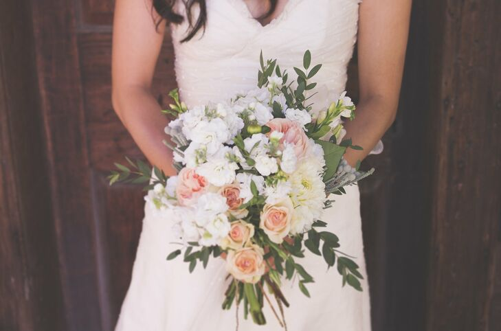 Zurry's bouquet was filled with pink and white blooms including peonies, roses and stock flowers accented by stems of eucalyptus.