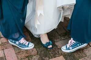 Navy Glitter Pumps and Converse Sneakers