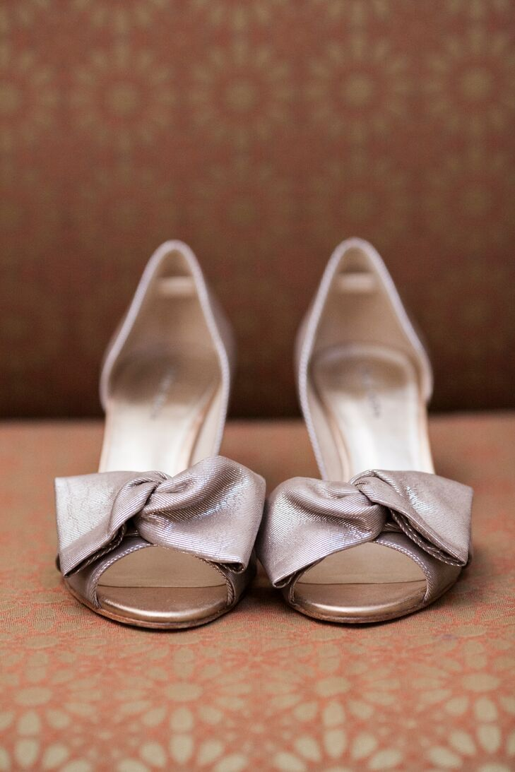 Champagne Open Toe Bridal Shoes