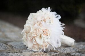 Rose, Stephanotis and Feather Bridal Bouquet