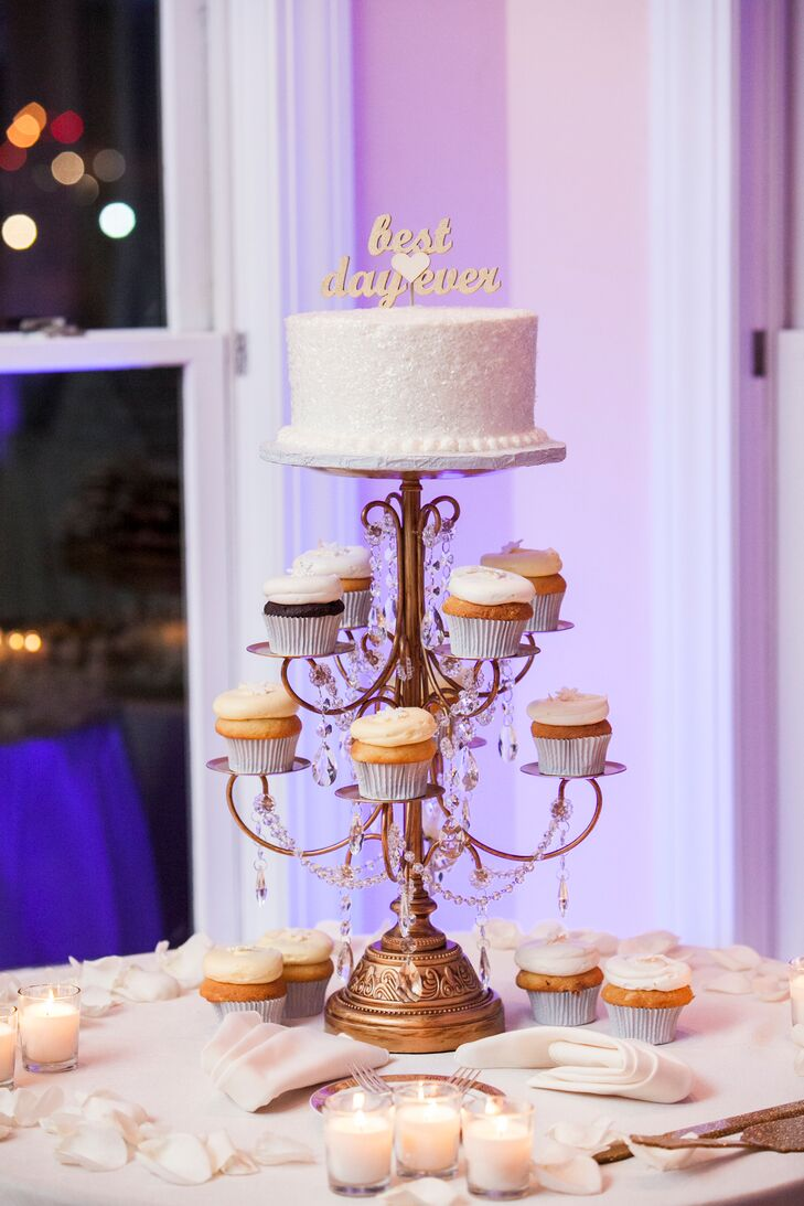The cupcake tower was topped with a small, red velvet cake for the cutting ceremony.