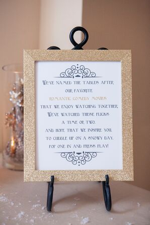Gold Glitter Framed Wedding Sign