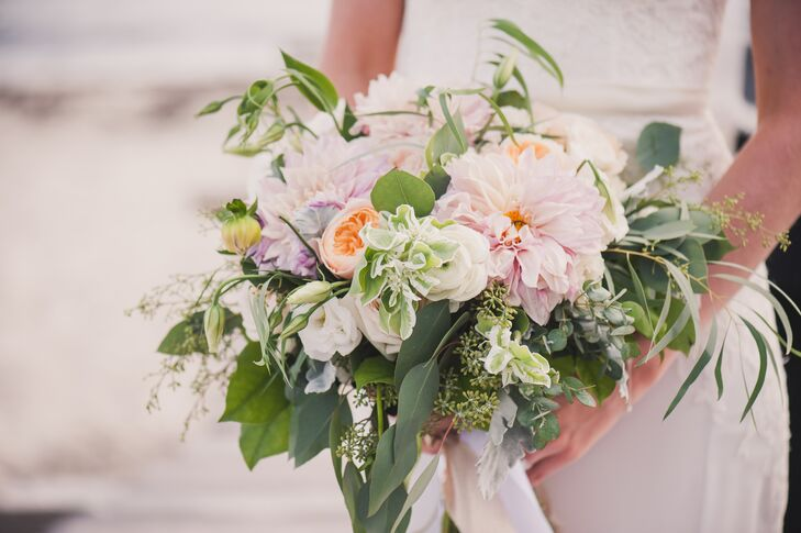 Dahlia and Ranunculus Bouquet with Halo of Greenery