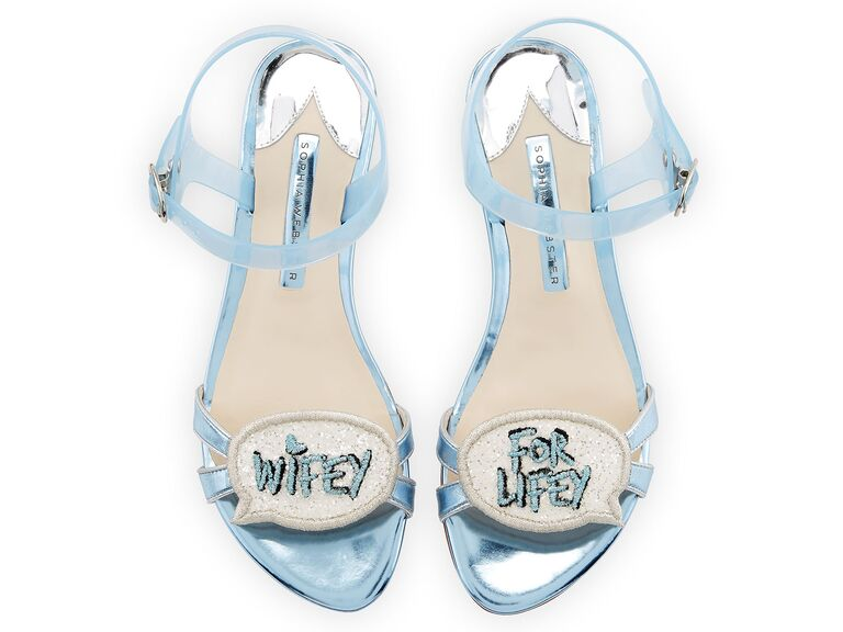 Glitter blue sparkly wedding shoes