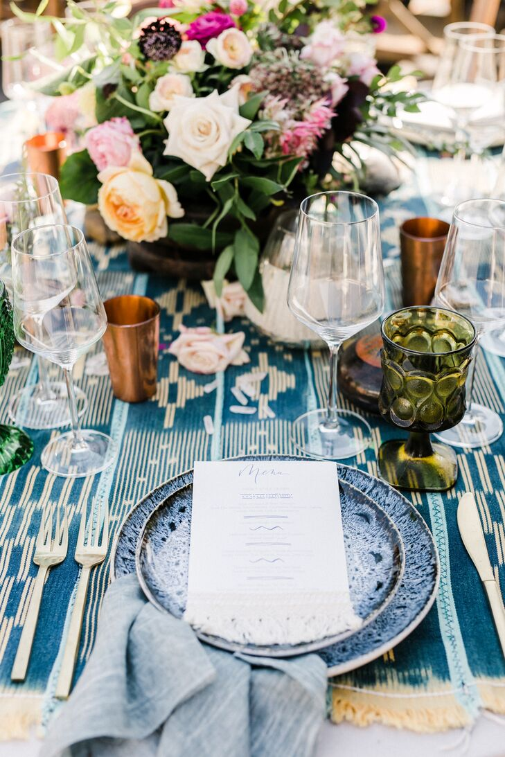 Blue Patterned Table Runner and Place Settings