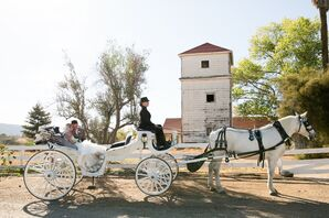 White Carriage and Horse Ceremony Exit