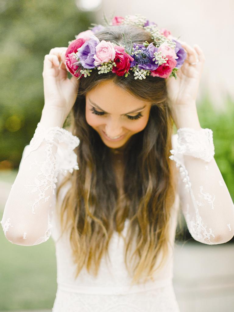 romantic wedding flower crown purple and pink