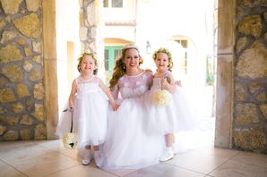 Tulle Flower Girl Dresses and Ivory Pomander Balls