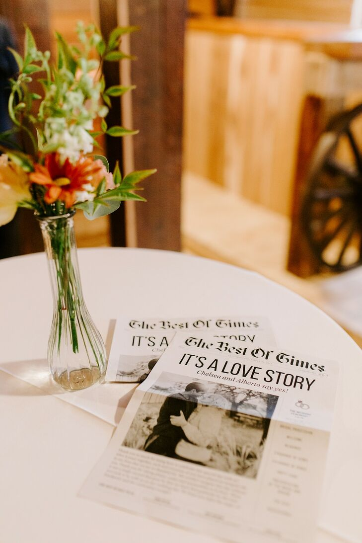 Black-and-White Newspaper-Inspired Wedding Programs