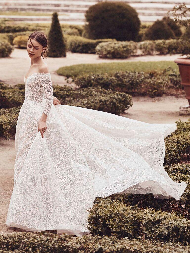 Monique Lhuillier Spring 2020 Bridal Collection lace A-line wedding dress