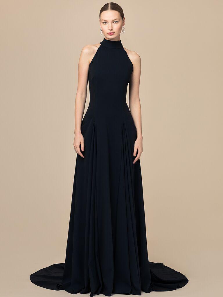 EDEM Demi Couture black high neck A-line dress