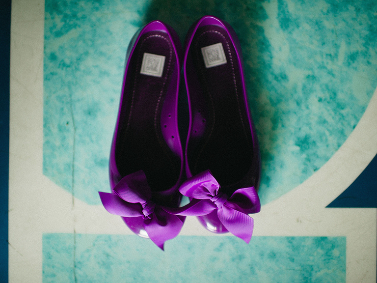 wedding flats purple with bows
