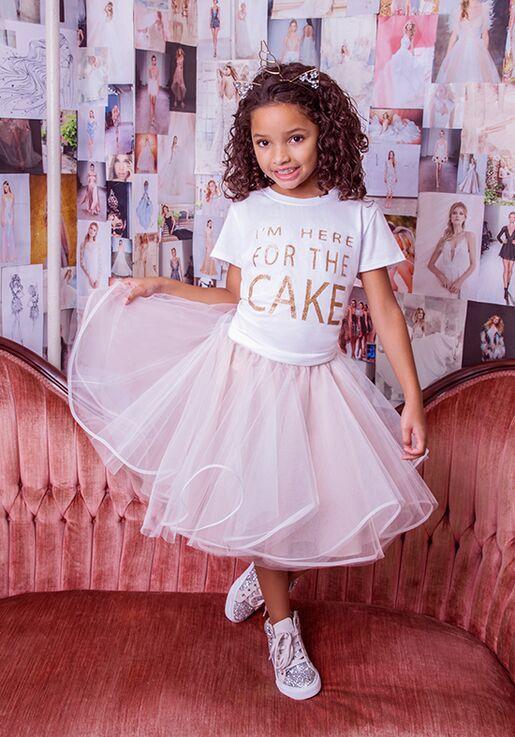 La Petite by Hayley Paige 5826-Dot Gray Flower Girl Dress