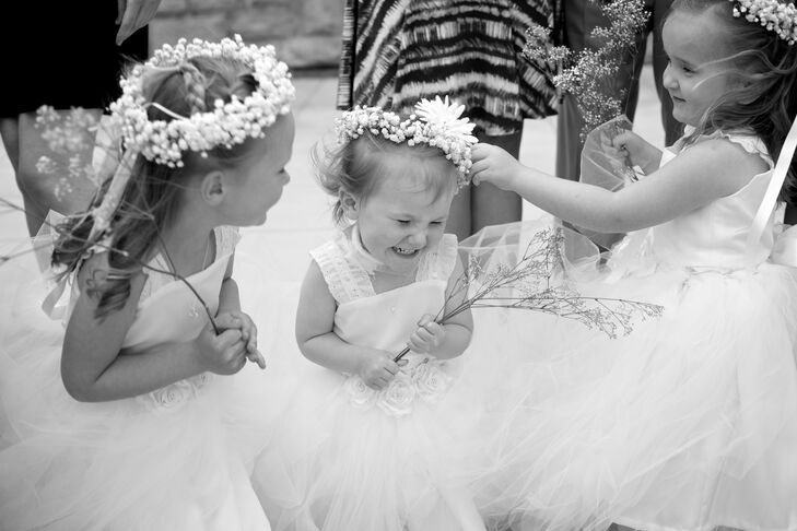 The flower girls wore classic tulle dresses with bubo's breath flower crowns.