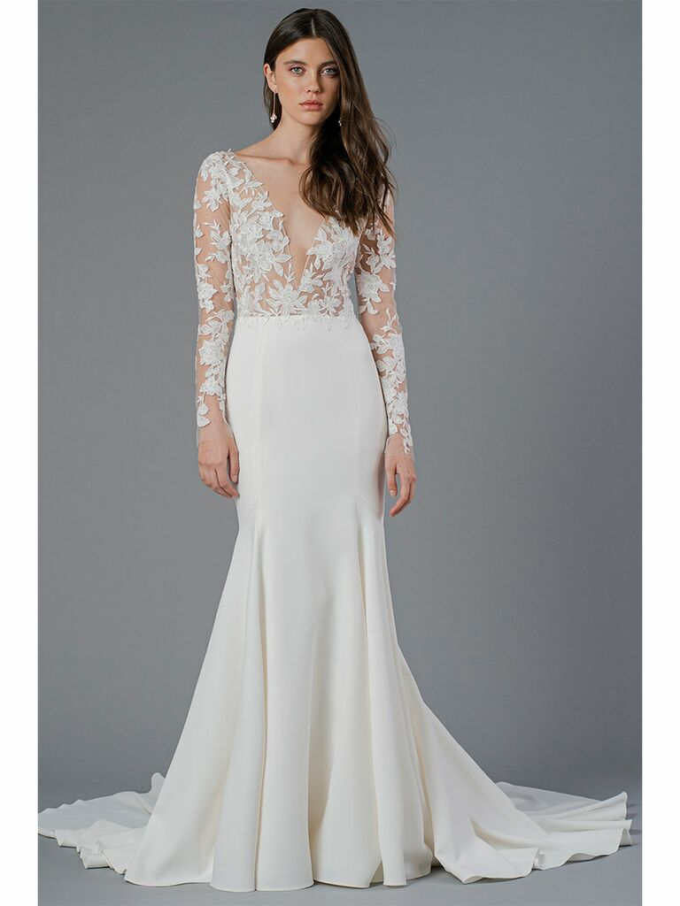 Jenny Yoo wedding dress long-sleeve lace trumpet gown