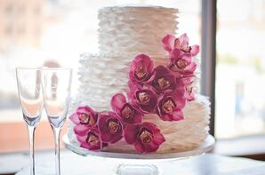 Fresh Purple Orchid Wedding Cake