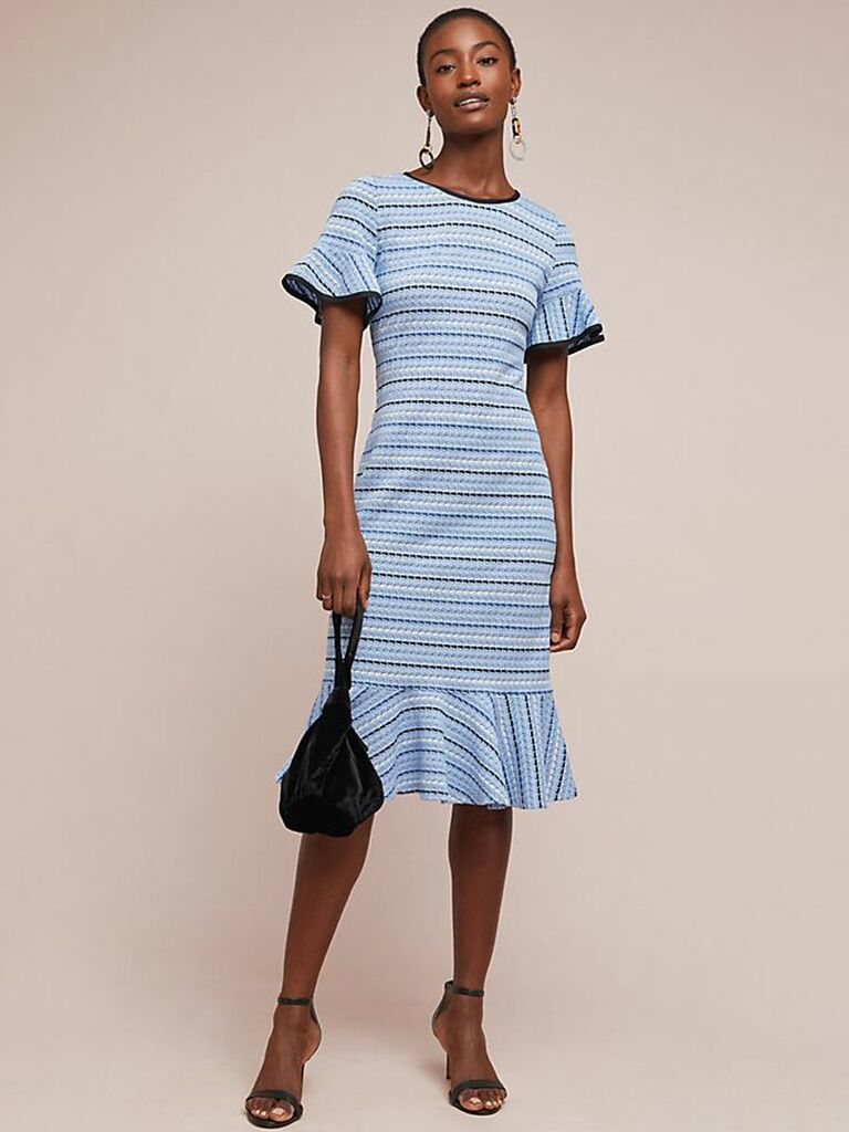 Blue striped spring wedding guest dress
