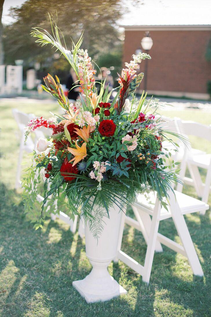 Tropical Aisle Floral Arrangements at the Gaillard Center in Charleston, South Carolina
