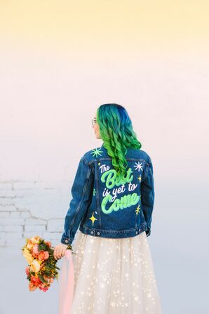 Bride with Neon Jacket at Wedding at the Unique Space in Los Angeles, California