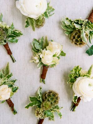 Boutonnieres with Greenery, White Roses and Ranunculus, Scabiosa Pods and Leather Ties