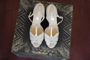 Vintage Silver and Ivory T-Strap Wedding Shoes