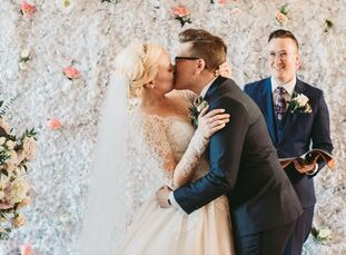 "Alana Rock and Clair Henderson had a classic wedding with touches of modernity.  ""For the most part, our wedding was traditional, but we also wanted o"