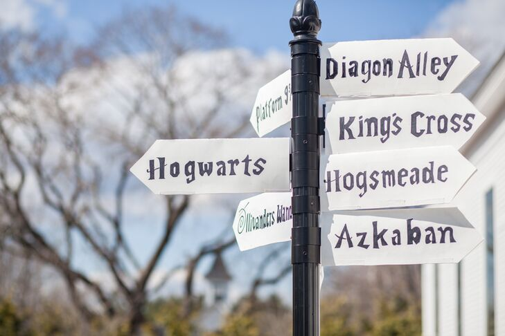 April recreated the signposts found in Hogsmeade and at Hogwarts.