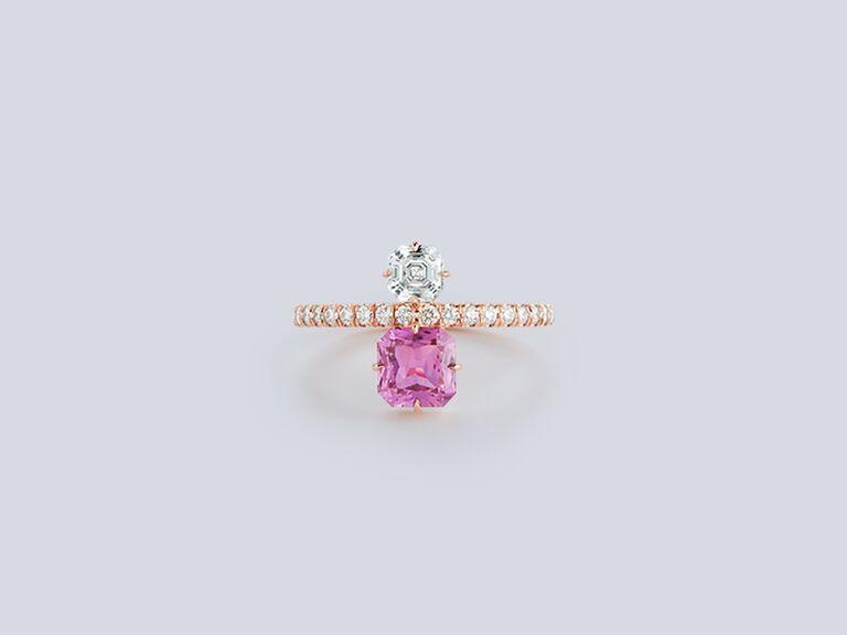 Pink sapphire and asscher-cut diamond engagement ring