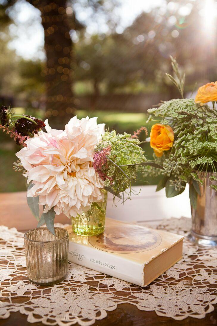 Vintage Dahlia Flower Arrangement