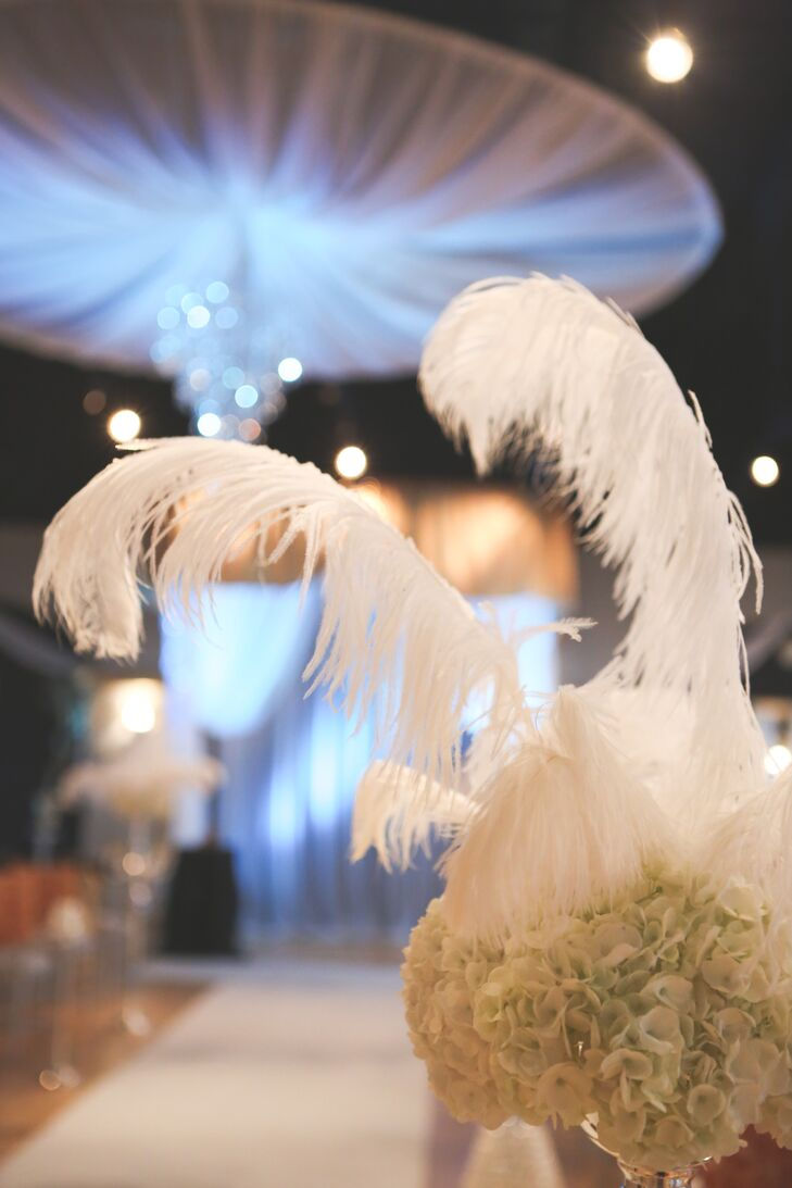 Hydrangea Aisle Markers with Dramatic White Feathers