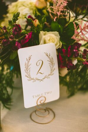 Whimsical Gold Table Number Card