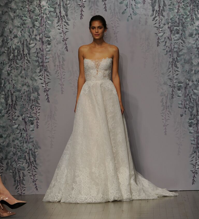 Monique Lhuillier wedding dress Fall 2016 Silk white/nude Chantilly and Re-embroidered lace strapless plunging sweetheart ball gown