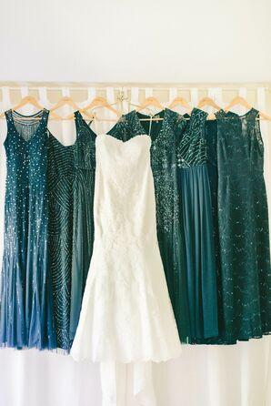 Mismatched Navy Sequin Bridesmaid Dresses