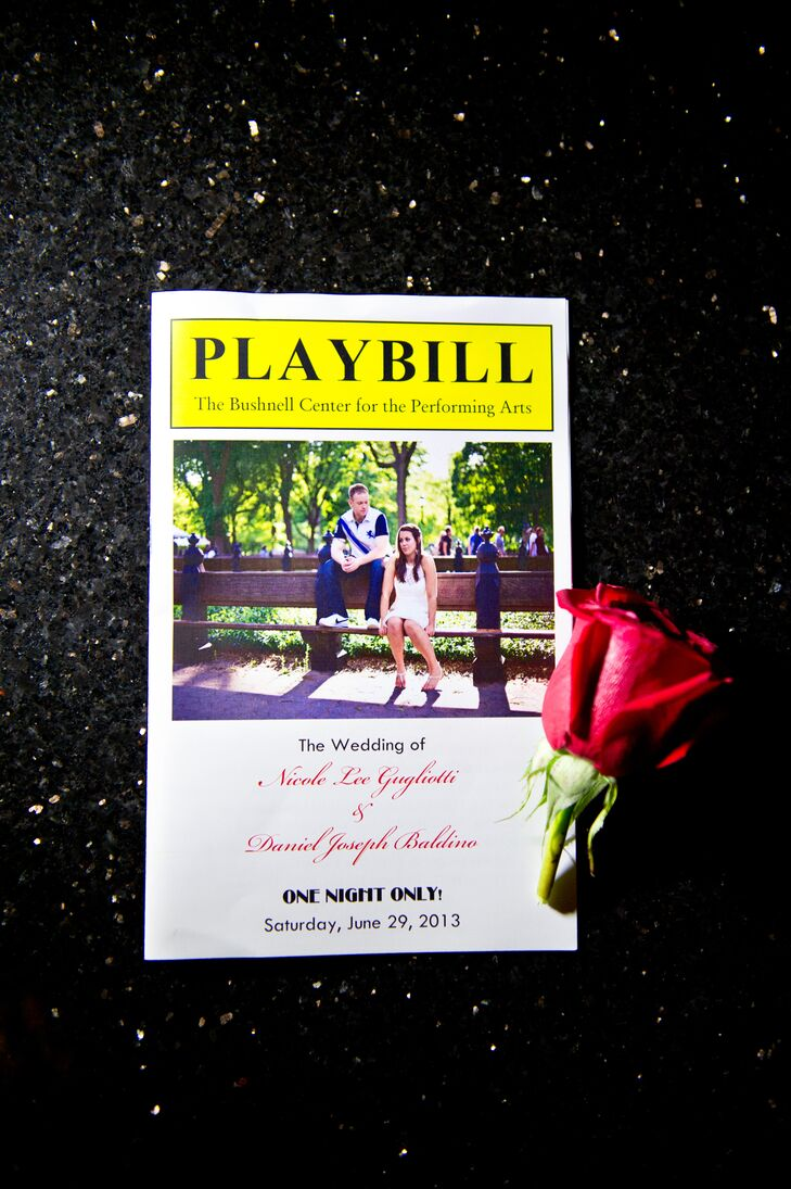 Since their wedding took place in a theater, Nicole and Daniel designed their wedding programs to look like Playbills.