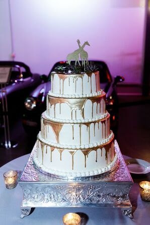 Modern Wedding Cake with Silver Stand and Gold Giraffe Topper
