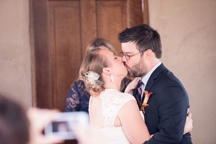 Chelsea and Matt First Kiss at Chapel Dulcinea