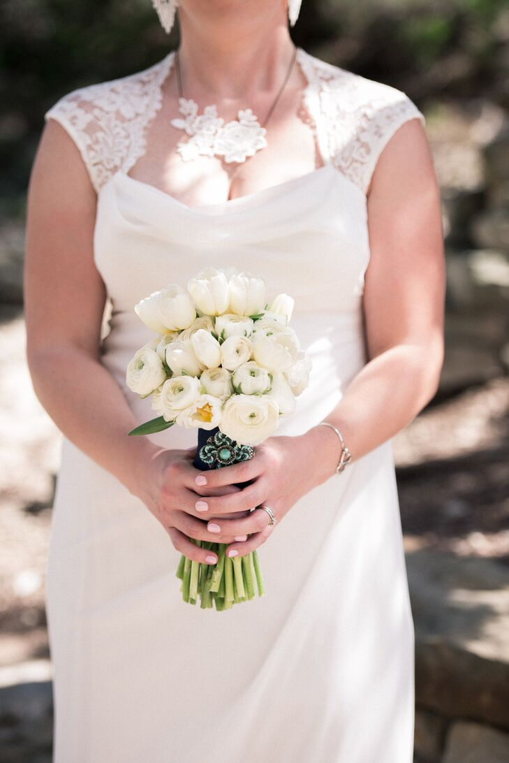 White Ranunculus Bouquet with Turquoise Brooch