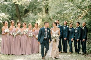 Rustic, Elegant Wedding Party with Dusty-Pink Dresses and Navy Suits