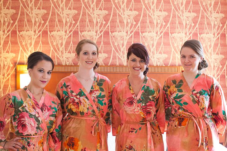 Bridesmaids Getting Ready in Floral Etsy Robes