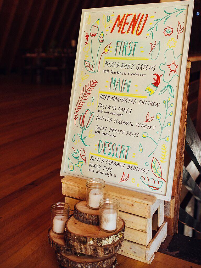 Colorful DIY wedding menu sign