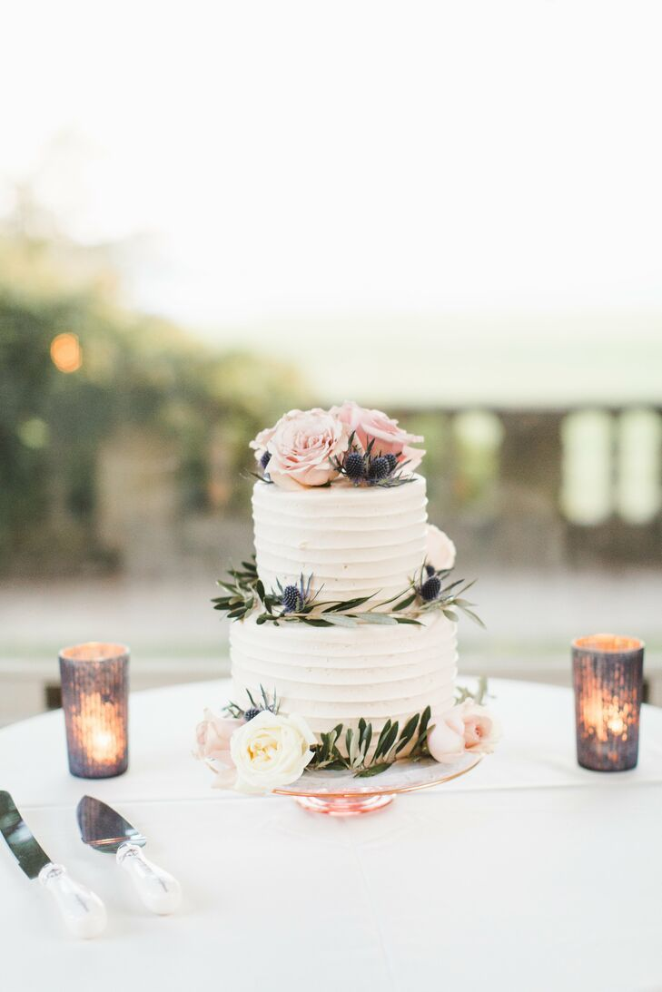 Small Buttercream Cake with Roses and Greenery