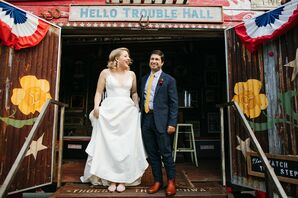 Whimsical Couple Outside Hello Trouble Hall in Austin, Texas