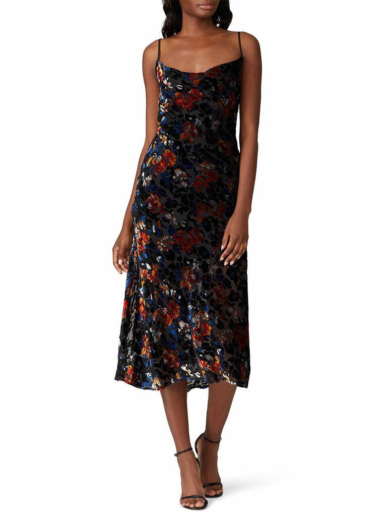 Dark velvet floral midi dress